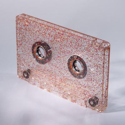 red gold glitter cassette