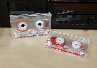 transparent cassettes with red leaders and no screws are ideal for prison tapes