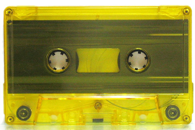 yellow tinted audio cassette