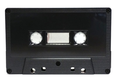 Black cassette with ridges and square window