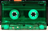 green transparent audio cassette