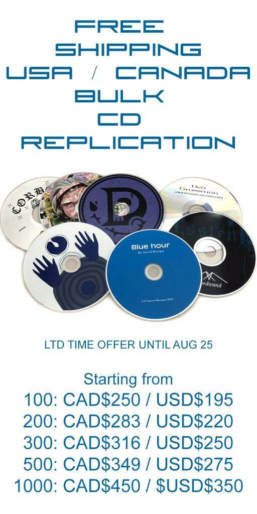 Free shipping on bulk CD replication with silkscreen from Duplication.ca