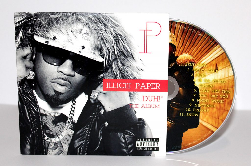 'Illicit Paper' 2-panel cardboard sleeve from Duplication.ca
