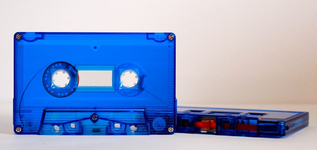 Blue tinted with square hubs cassette tape shell by Duplication.ca