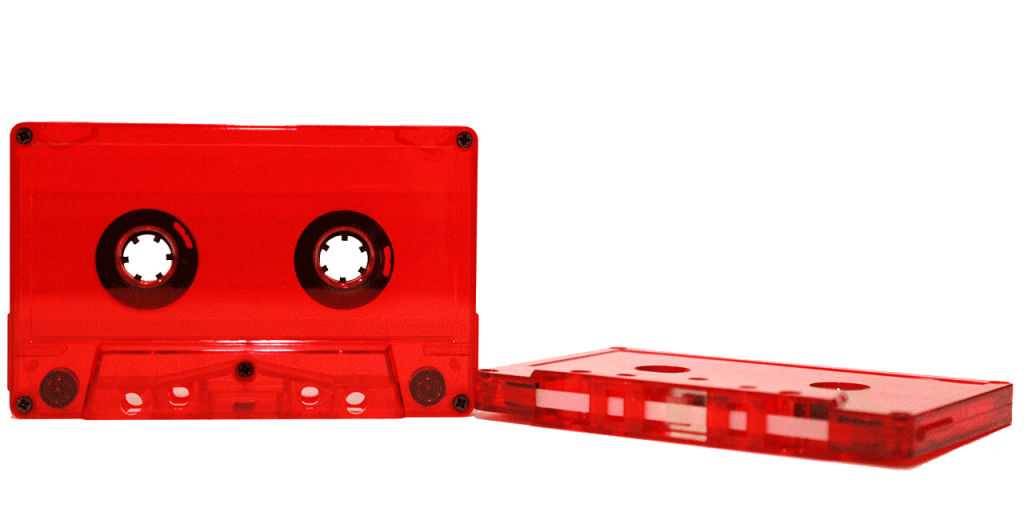Fire engine red tint cassette tape shell by Duplication.ca