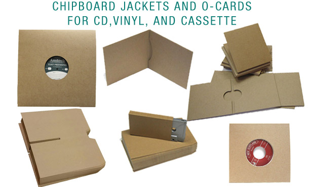 chipboard packaging for vinyl records, CDs, and cassettes