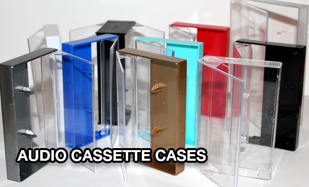 Audio cassette Norelco boxes and soft poly boxes including double-cassette cases