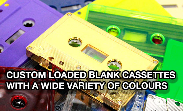 Custom-loaded blank audio cassettes in different colours