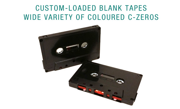 Custom-loaded blank audio cassettes in colors