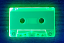 Florescent green cassette under blacklight