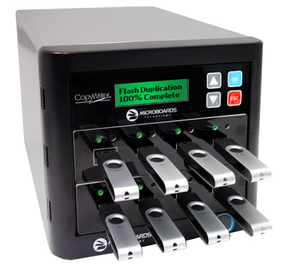 7-slot USB flash duplication tower, copy USB flash drives with a click of a button!