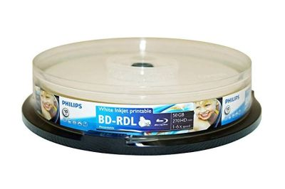 image about Printable Blu Ray Discs named Philips 50GB BD-R Twin Layer White Inkjet Printable, 10 Discs