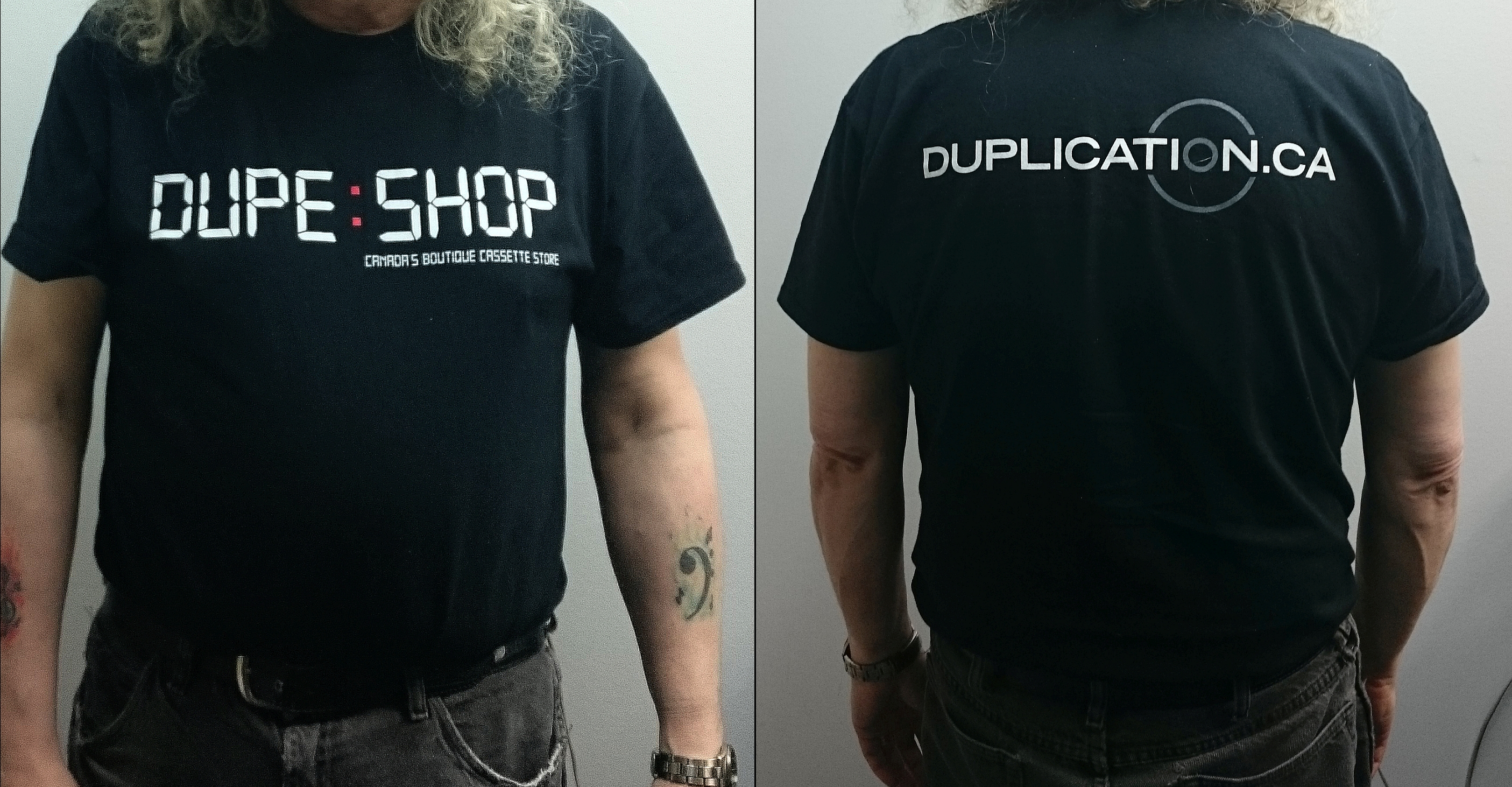 Dupe Shop front / duplication.ca back Tee (Black or Grey)