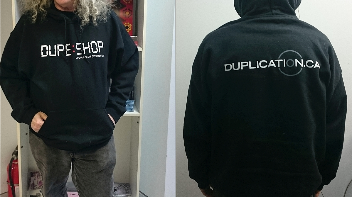 Dupe Shop front / duplication.ca back Hoodie (Black or Grey)