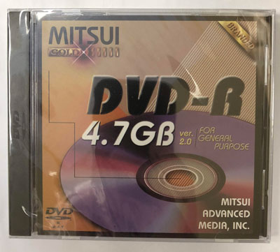 Mitsui Branded Gold 4.7 GB DVD-R in Jewel Case, Made in Japan