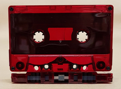 Maxell XLII-S High Bias Cobalt Audio Tape in HiDef Red Tint Chrome Notch Shell TAB OUT with tab plugs