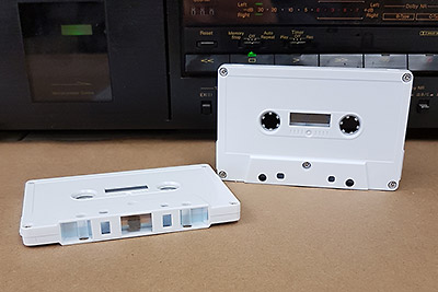 Audio Cassette Voice Grade, White Tab Out, C-1 to C-110