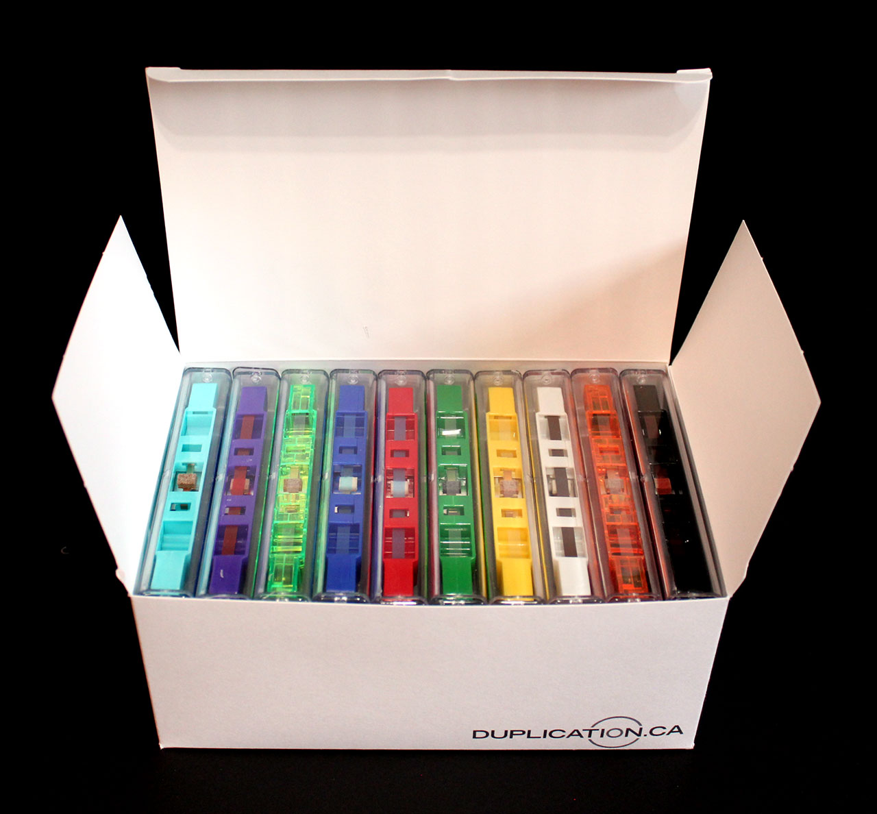 60-minute cassettes with cases and J-cards (10-pack, random colours)