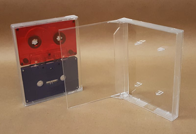 Double Cassette Box, 2 Side by Side, Clear/Clear, With Posts