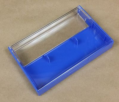 Clear/Blue Norelco Case for Audio Cassettes With Square Corners
