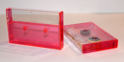 Clear/Neon Pink Tinted Norelco Case for Audio Cassettes