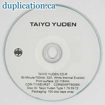 Taiyo Yuden CD-R, 52X, White Thermal (EVEREST), 100-Disc Tape Wrap