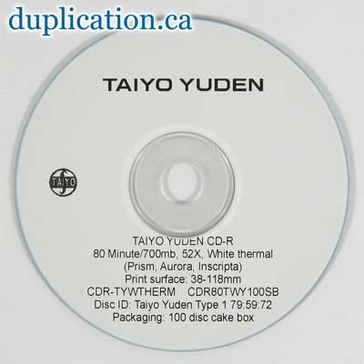 Taiyo Yuden CD-R, 52X, White Thermal Printable, (Prism, Aurora, Inscripta Only)