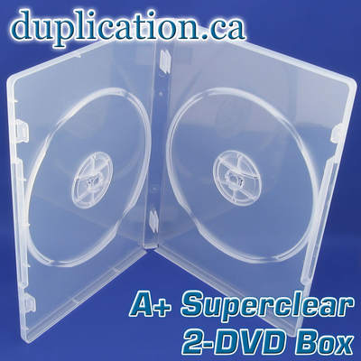A+ Super clear standard size 2-DVD box with overlay