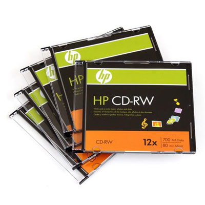 HP ReWriteable 12X Speed 700MB/80min CD-RW 5-Pack