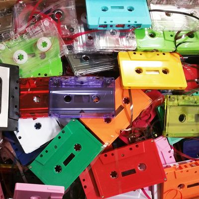 18 LBS (approx 250) Colorful Audio Cassettes for Art