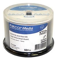 Falcon DVD+R DL 8.5 GB Inkjet Printable Smartguard Glossy Discs - 50PK