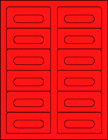 Fluorescent Hazard Orange Audio Cassette Labels for Laser and Inkjet Printers - 12 Up, Square Bottom Corners