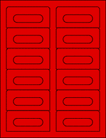 Red Audio Cassette Labels - 12 Up, Square Bottom Corners