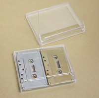Double Cassette Box, 2 Side by Side, Clear/Clear, No Lugs, 100 pieces