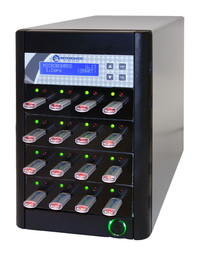 15-slot USB flash duplication tower, copy USB flash drives with a click of a button!