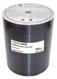 Falcon DVD-R 16X, Shiny Silver Hub Printable Corporate - 100pk
