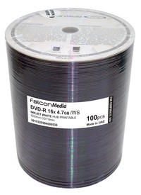 Falcon DVD-R 16X White Inkjet Hub Printable Corporate - 100 pack