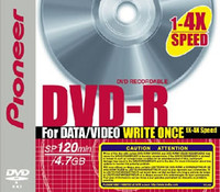Pioneer 1X-4X Speed DVD-R