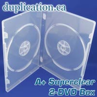 Super clear standard size 2-DVD box with overlay