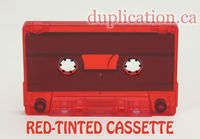 red tinted audio cassette